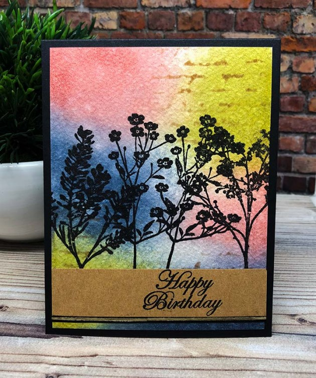 Make a Birthday Card with Walnut Ink and VersaFine