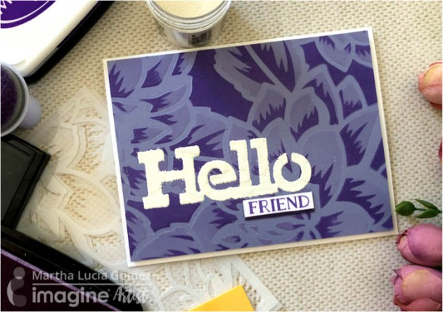 Purple and lavender Hello Friend handmade card featuring Memento Inks by Tsukineko available from Imagine.