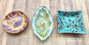 clay bowls stamped with versamagic and stazon ink