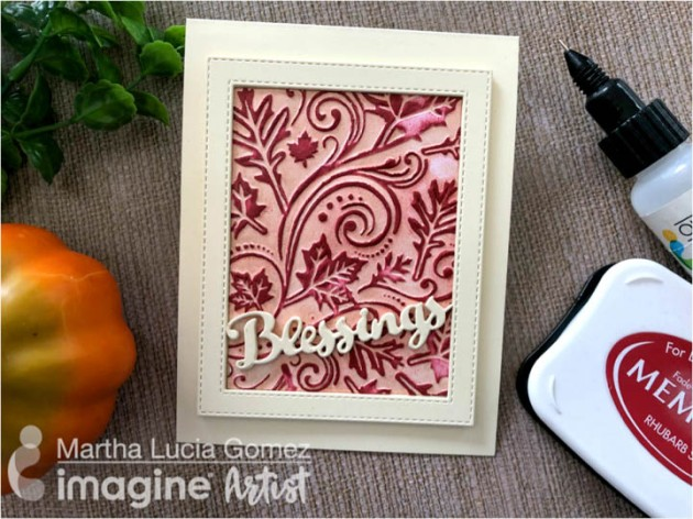 "Bring in the Fall Season with a ""Blessings"" Card with Memento in Rhubarb Stalk"