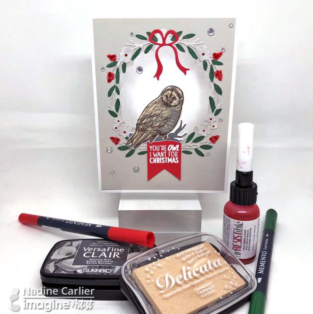 Owl Christmas Card by Nadine Carlier IC