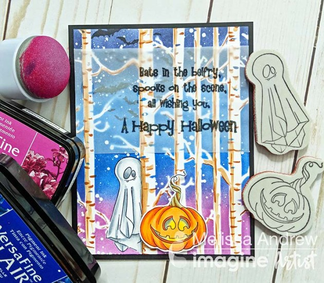 Create a Vibrant Night Sky for Halloween Card
