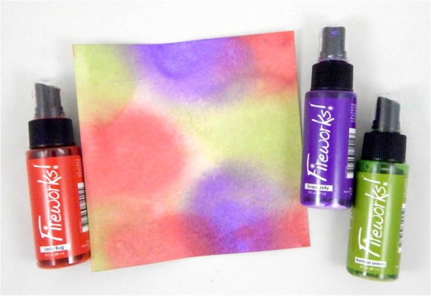 Fireworks! Shimmery Craft Sprays in Lady Bug, Grape Jelly and Bamboo Leaves