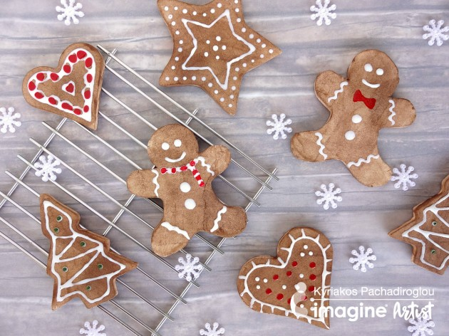 See How to Make Gingerbread Ornaments with Polymer Clay and Memento Ink