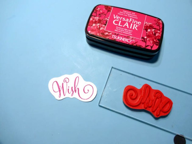 "Stamp the ""Wish"" sentiment stamp with VersaFine Clair Purple Delight ink"