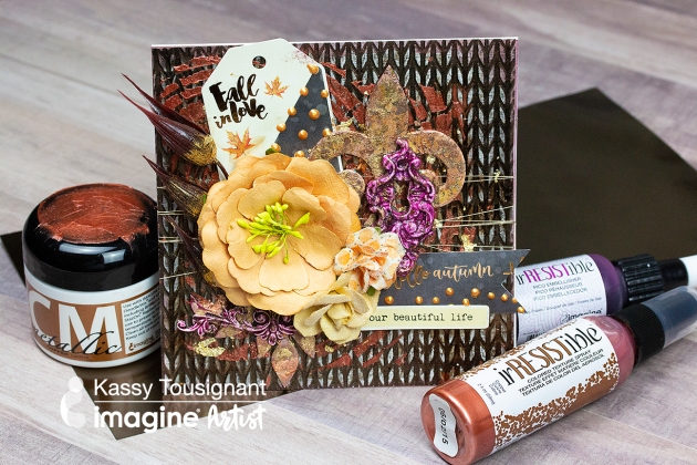 See How to Create a Metallic and Distress Autumnal Greeting Card