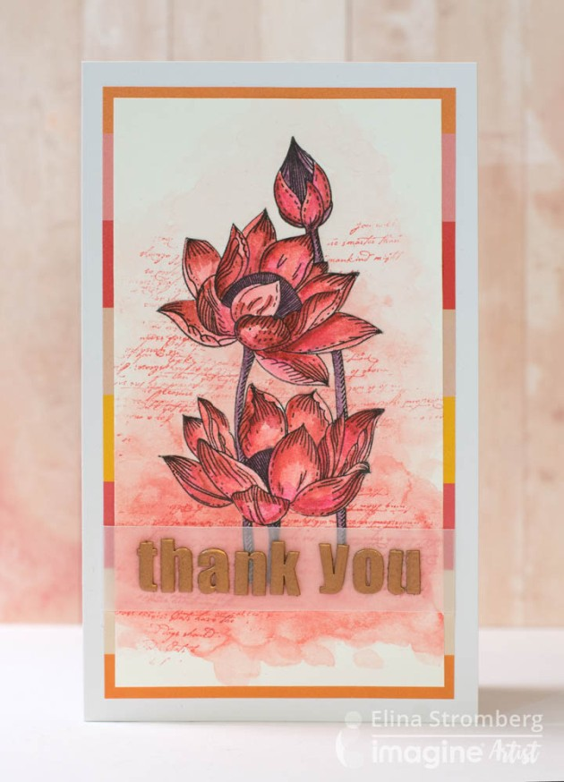 create a thank you card using memento inks and versamagic