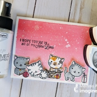 Create an Cat Themed Card with Ombre Background with Memento Ink