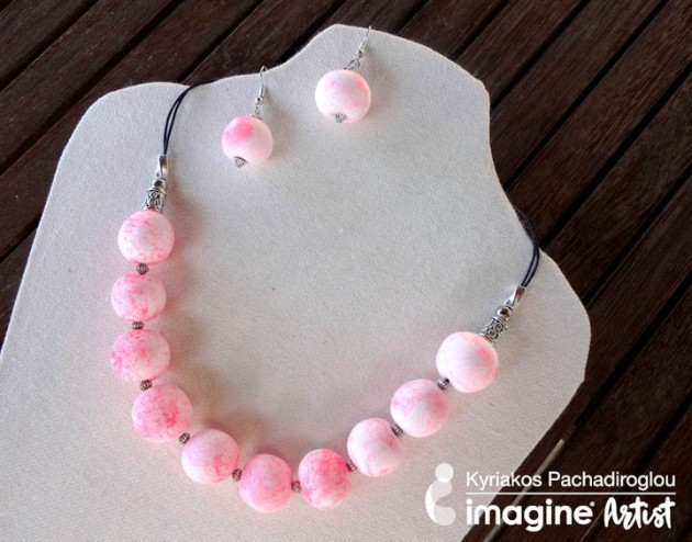 eef2087e25f33b Make bead pearls out of lightweight clay to use in jewelry pieces. The  pearls have a marble-like effect that was made using the Radiant Neon  Electric Coral ...