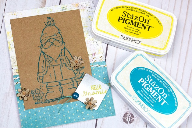 Watch a Video on How to Use StazOn Pigment to Stamp on Kraft Paper