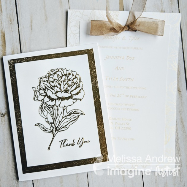 Learn to Make DIY Wedding Thank You Notes with Flower stamp and Gold Embossing