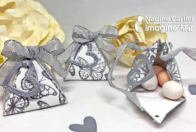 DIY Wedding Favor Gift Boxes with silver embossing