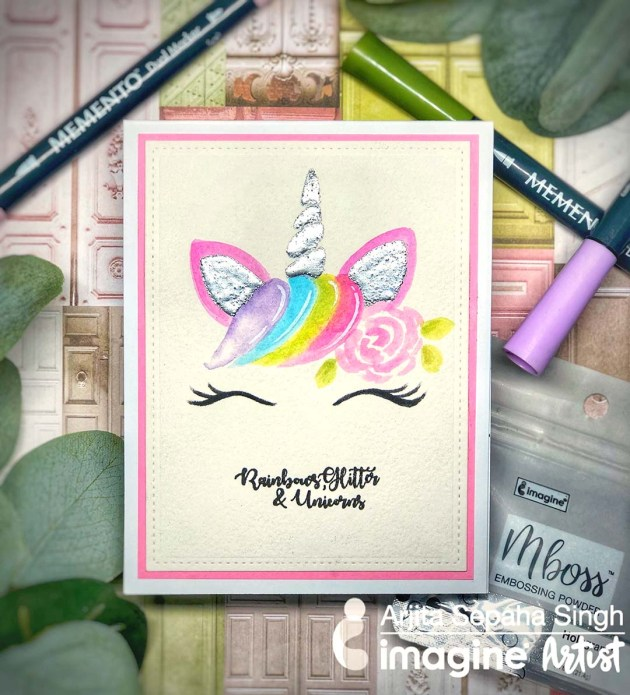 See How to Make a Unicorn Holographic Card with Watercoloring + Embossing Powder