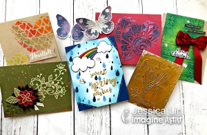 Six greeting cards made with different heat embossing techniques using Mboss embossing powder by Imagine