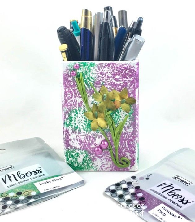 Learn How To Upcycle A Pencil Holder With Embossing Powder