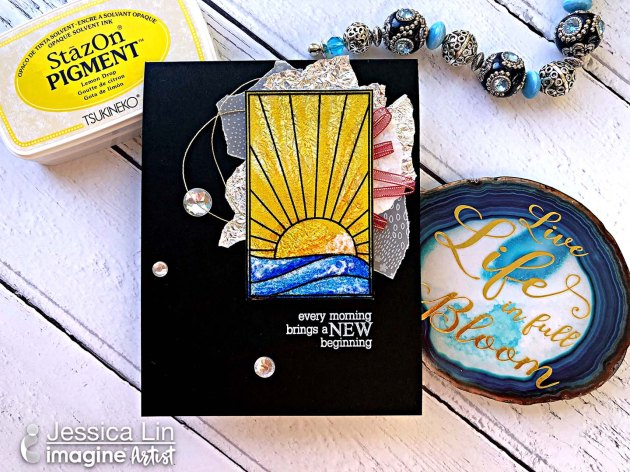 Stamping on Acetate with StazOn Pigment to Create Sunshine Stained Glass