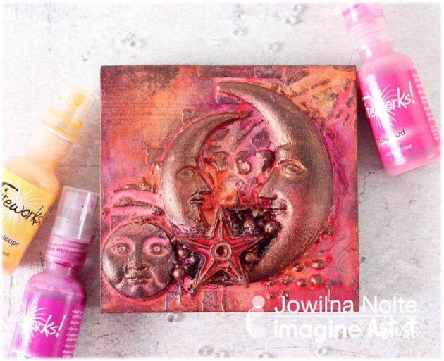 See How to Make a Moon and Stars Art Canvas with Fireworks Spray