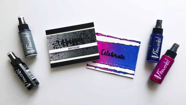 Learn How to Make a Birthday Card with Ink Blending Fireworks Ink Sprays in Blue and Pink