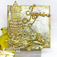 How To Make A Mixed Media Canvas in Gold Shimmer