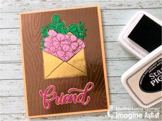Create a Woodgrain Theme Friendship Card with Rinea Foil