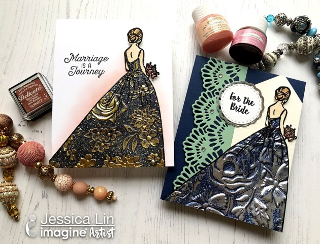 Create a Beautiful Wedding Dress Card with Heat Embossing on Rinea Foil