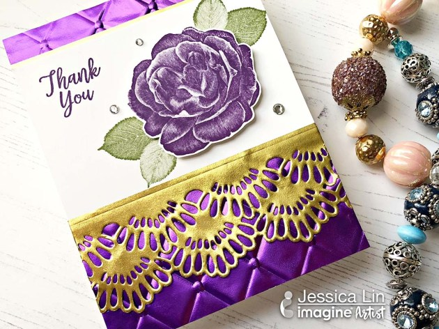 Make a Simple Card with Embossing and Border Design with Rinea Foil