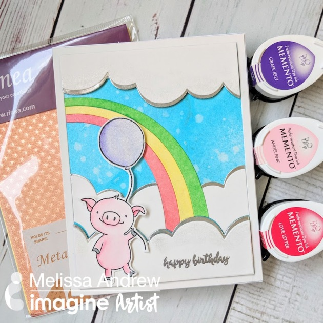 Adorable handmade birthday card featuring a piglet image with rainbows balloons and silver lined clouds.