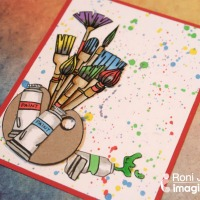 Create a Paint Brush Splatter Style Card with Waffle Flower Stamps