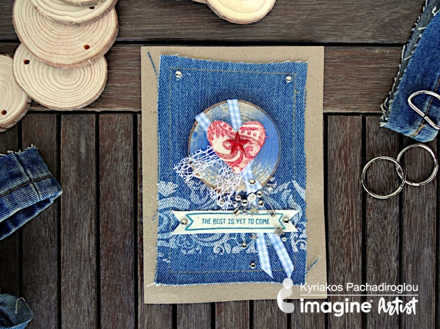 Learn How to Create a Card with a Panel of Denim Fabric
