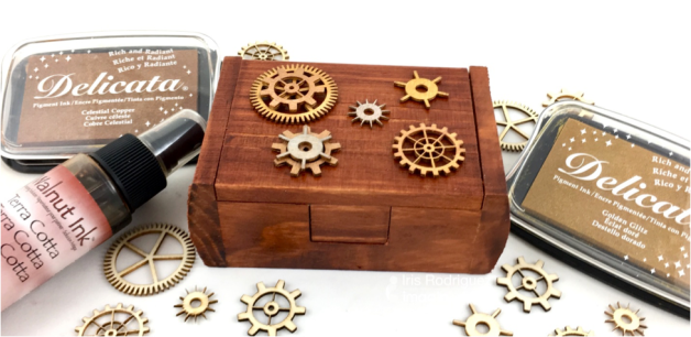 Color a Wooden Box with Walnut Ink And Delicata Metallic Inks
