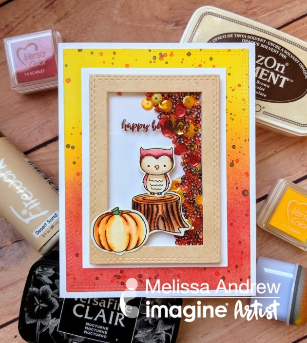 See How to Make a Fall Themed Birthday Shaker Card with VersaColor Ink