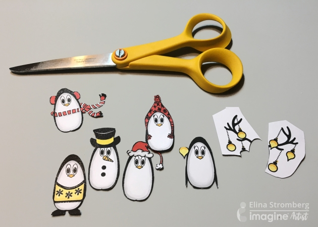 Stamp Christmas penguins on white paper with black ink