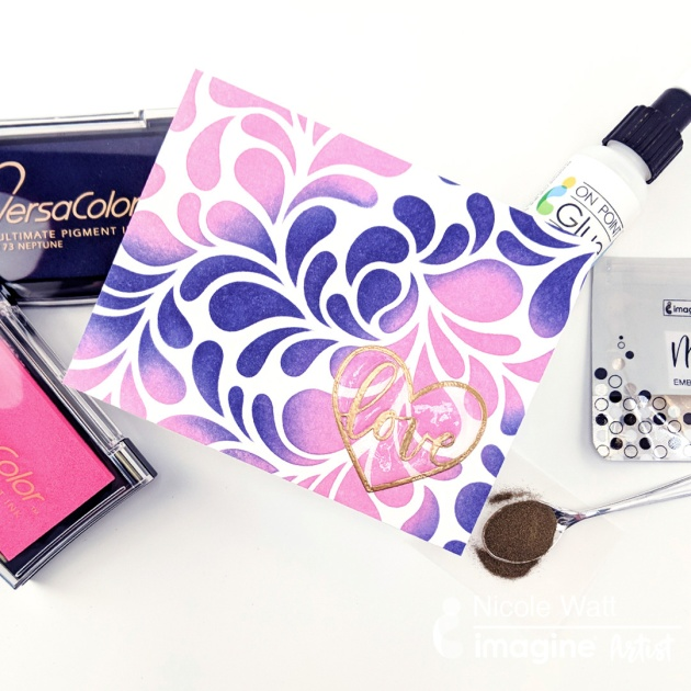 versacolor inkblending video pink and purple inks for valentines day