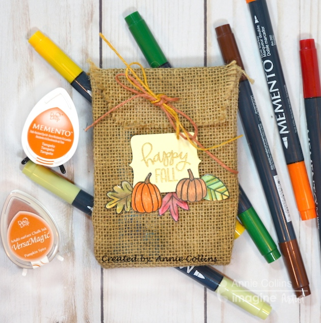 burlap trick or treat bag memento ink pad markers