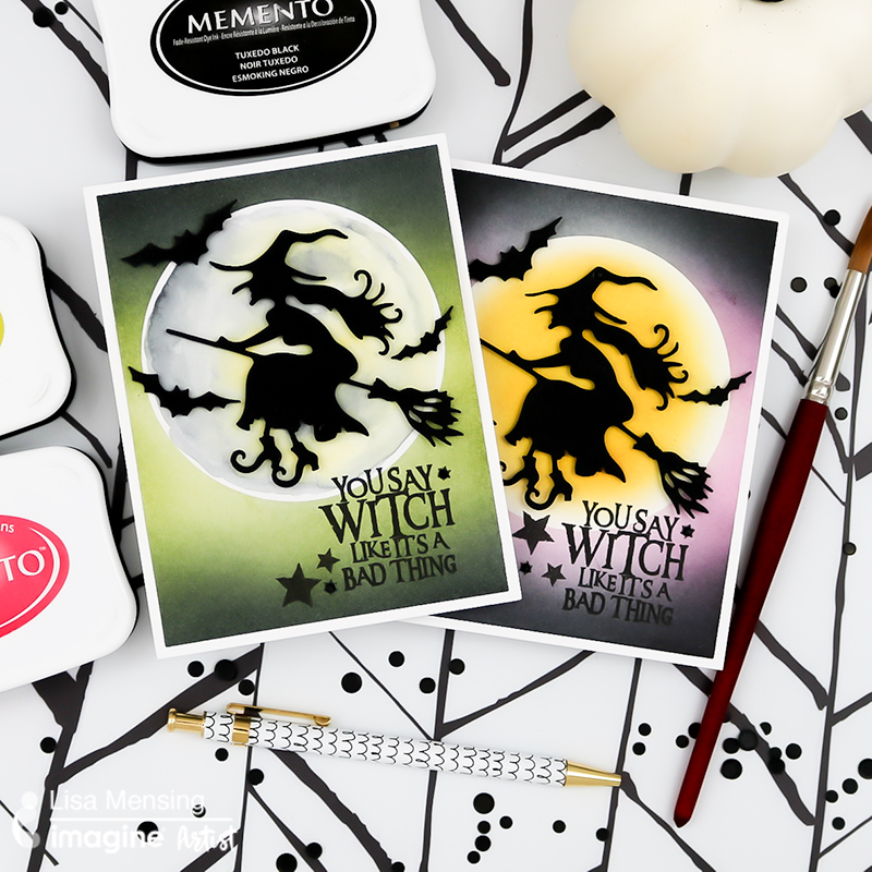 flying witch halloween card with a glowing moon background made with memento inks in a how to tutorial on ink blending