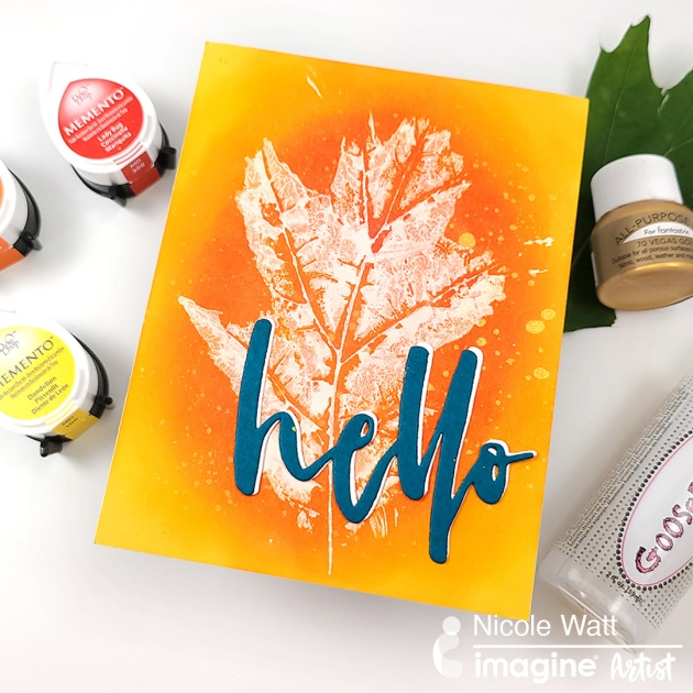 red, yellow, orange ink pad use to make fall leaves october hello card gold splatter background