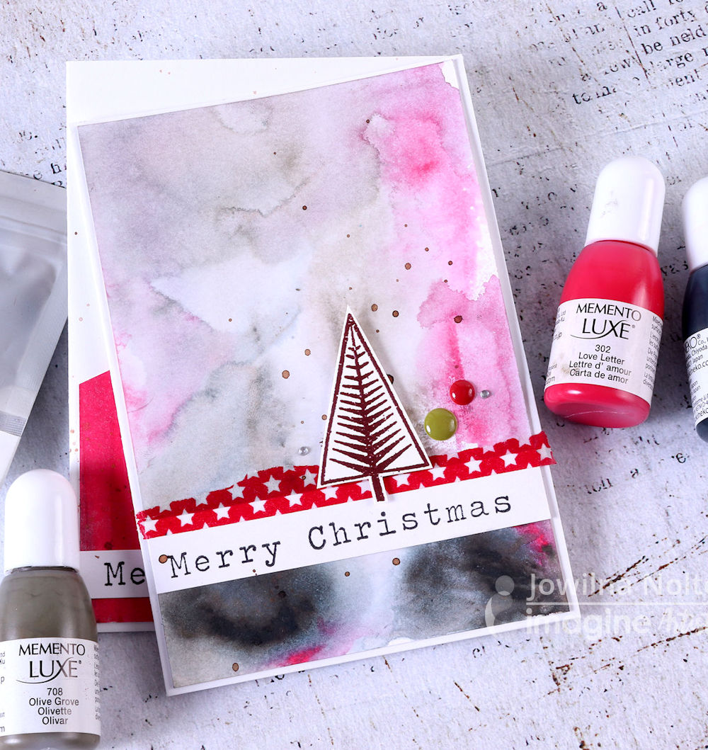 Make Beautiful Holiday Cards with Watercolor Effects Using Memento Luxe Inkers