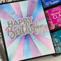 Make a Happy Birthday Sunburst Card Using VersaFine Clair